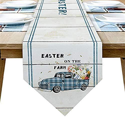 VJRQM Chemin de Table Basse Pâques Camion de Ferme Lapin Oeuf Buffalo Plaid Vintage Chemin de Table en Toile de Jute 72 Pouces de Long pour Le dîner de fête de Banquet de Vacances à la Ferme