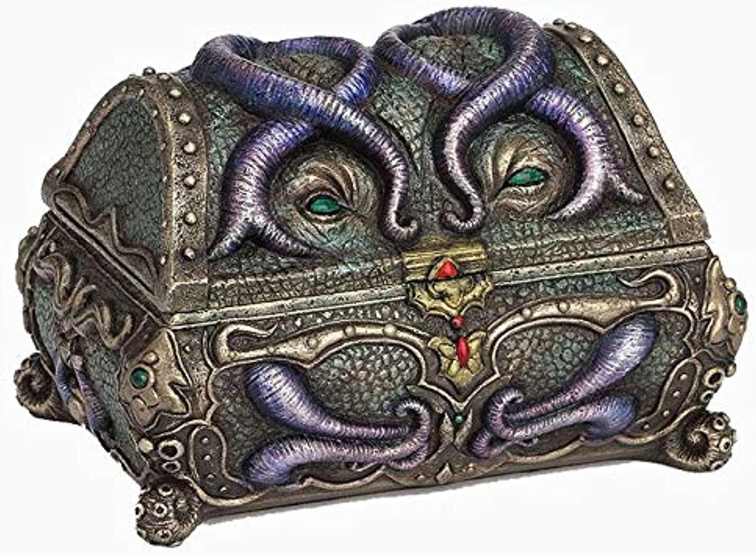 XoticBrands Octopus Mimic Chest Trinket Box - Cold Cast Bronze Sculpture