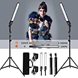 GIJUANRING 2 Packs Dimmable Bi-Color LED Video Light with TripodStand Bag Photography Lighting Kit...