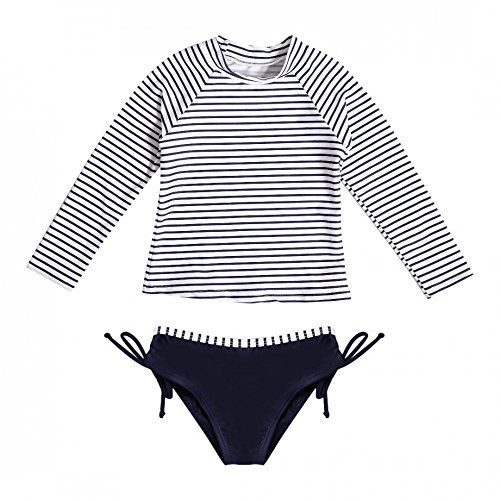 La-V meisjesbadshirt en zwembroek in set gestreept