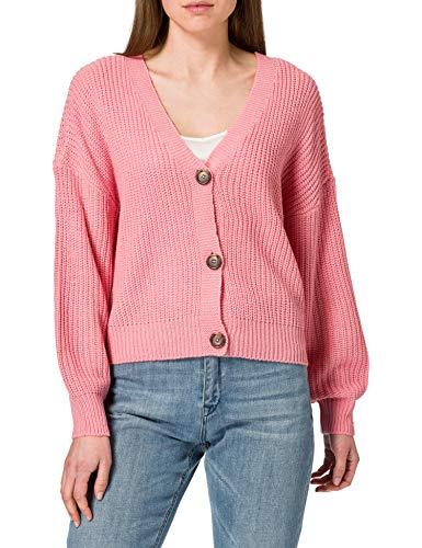 Vero Moda VMLEA LS V-Neck Cardigan Color Suter crdigan, Geranio Rosa, M para Mujer