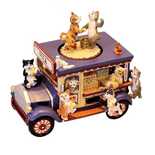 Xiaoli Caja de música Regalo Estilo Retro Caja de música, Gato de la Historieta del Coche Caja de música, Resina Musical Box for la Navidad/cumpleaños/Día de San Valentín Cajas Musicales (Color : A)