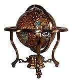 Unique Art 10-Inch Tall Table Top Amberlite Pearl Swirl Ocean Gemstone World Globe with Copper Tripod Stand