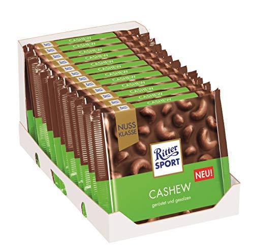 RITTER SPORT Cashew (12 x 100 g), Vollmilchschokolade gefüllt mit gesalzenen Cashews, Tafelschokolade, Schokolade mit Nüssen, Nuss-Klasse