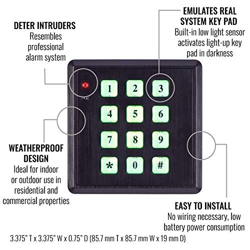 SABRE HS-FSKP Fake Security Key Pad with Built-in Low Light Sensor – Realistic Fake Security System Design with Backlit Light-up Key Pad and Flashing Red LED Light, Easy to Install – Black