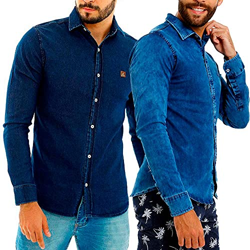Kit Com 2 Camisas Jeans Masculinas Slim Manga Longa Cor:Azul-escuro/Estonado;Tamanho:G