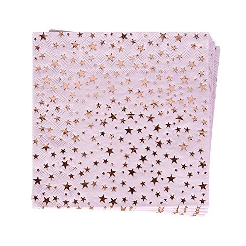 Papieren servetten in roze-roze & rosé-goud koper/tuinfeest/verjaardagsfeest/zomerfeest/party-decoratie/tafeldecoratie/grillfeest/zomerfeest/gedekte tafel/JGA-afscheid 48 stuks.