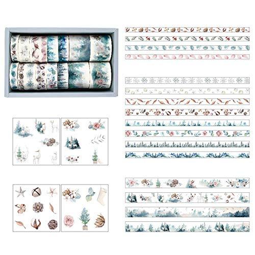 Lsmaa Washi Tape-Rollen-Satz, 16 Rollen Dekorative Masking Tape Collection mit 3 Größe, einschließlich 8-Blatt-Aufkleber-Klebeband for Scrapbooking Geschenk-Wrapping DIY Journal Fotoalbum