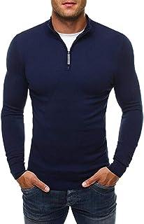 Mens 1/4 Quarter Zip Sweatshirt Slim Fit Collar Active Pullover Tops