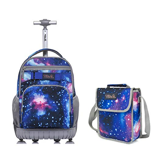 Tilami Rolling Backpack Laptop 18 inch with Lunch Bag, Galaxy Blue