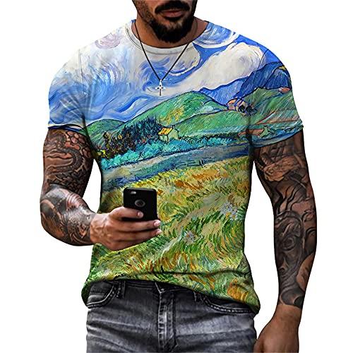 Camiseta Hombre Moderno Urbano Clásico Moda Paisaje Estampado Hombre Casuales Camisa Verano Básico Cuello Redondo Regular Fit Hombre Manga Corta Diaria Casual All-Match Shirt