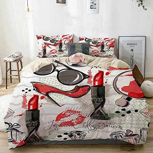 Funda nórdica Beige, ilustración de Moda o patrón con lápiz Labial Rojo, Zapatos, Vasos y Perfume, Juego de Cama de Microfibra Impresa de Calidad de 3 Piezas, diseño Moderno con suavidad