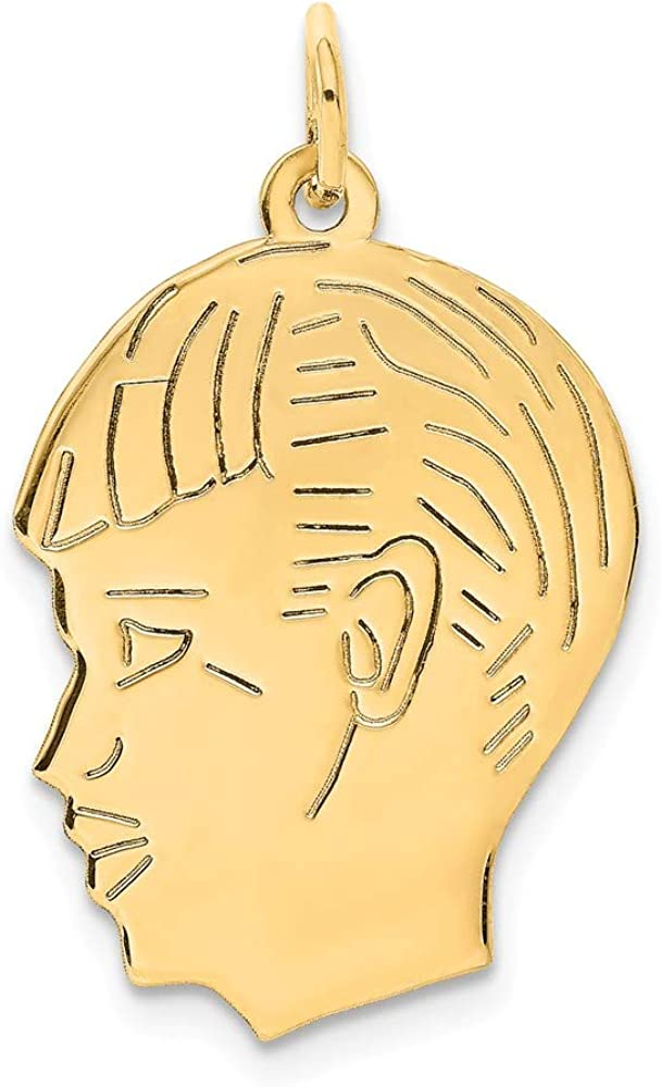 14k Yellow Gold .013 Depth Engravable Boy Head Pendant Charm Necklace Baby Disc Girl Pre Engraved Fine Jewelry For Women Gifts For Her