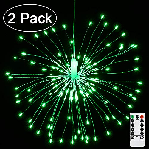 Joomer Firework String Lights 8 Modes 120 LED 2 Pack Dimmable Starburst Lights Waterproof Battery Operated with Remote Control for Christmas Decoration Green