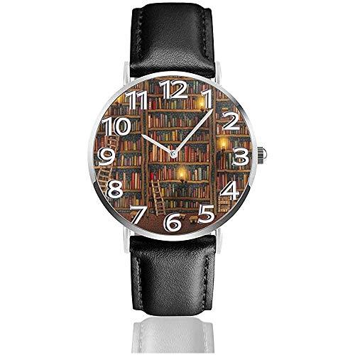 Boekenplank Unisex Horloge Sport Horloge PU Lederen Band Quartz RVS Polshorloges