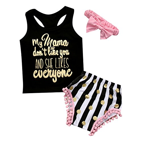Xsylife Conjunto de 3 piezas de ropa de verano para niña con estampado de letras negras + pantalones cortos de polipropileno a rayas + diadema, Negro, 0 meses