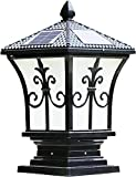 Tall and Extra Large Solar Post Cap Lights Solar Pillar, Diameter: 9.43 Inch; Height: 17.8 Inch. Solar Powered Post Caps. Stylist Solar Post Caps (Antique Black)