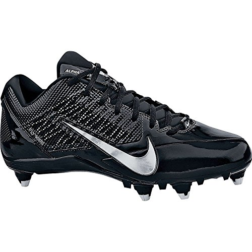 Mens Nike Alpha Pro TD Football Cleats (Black/Metallic Silver, Size 12)