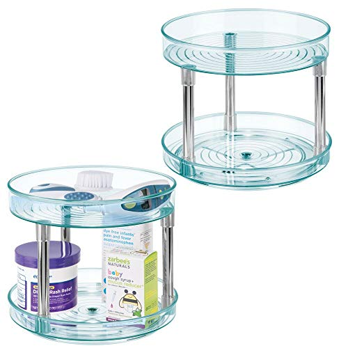 "mDesign 2 Level Spinning Lazy Susan Turntable Food Storage Organizer for Cabinets, Pantry, Refrigerator, Countertops - Raised Edge - Kids/Toddler - 9"" Round, 2 Pack - Sea Blue/Chrome"