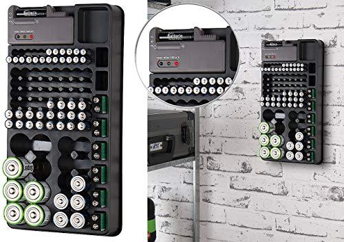 tka Köbele Akkutechnik Batterieaufbewahrung: 2in1-Batterie-Organizer für 98 Batterien, mit Batterie-Tester (Batterien Aufbewahrungsbox)