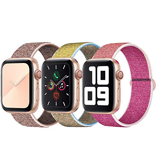 SSEIHI Kompatibel mit Apple Watch Armband 42mm 44mm,Soft Sport Loop Leichter Atmungsaktiver Nylon Armband Für die iWatch Serie 5/4/3/2/1, Sport+, Edition,Pink/Camel/Pomegranate