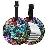Colored Sparks - Juego de etiquetas para maleta de piel personalizada, accesorios de viaje, etiquetas redondas para equipaje Negro Negro 4 PCS