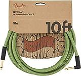 Fender® Festival - Câble Pour Instrument En Chanvre - 3m - Droit/Angle - Vert