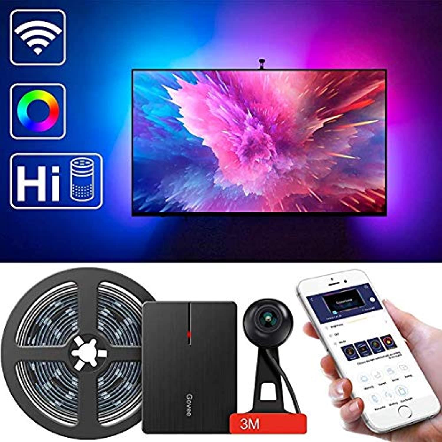 LED TV Backlights, Govee WiFi TV Backlights Kit with Camera, TV Led Strip Lights Compatible with Alexa, APP Control Music Led Strip Lights, TV Ambient Bias Lighting for 55 -80  TV Calibrate on APP