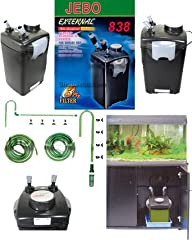 4 stage filtration Pump Output 315 G/H (1,200 LPH) For Aquariums up to 150 Gallons Includes all hoses and everything necessary to get started Adjustable-height inlet tube, fits even the deepest aquariums