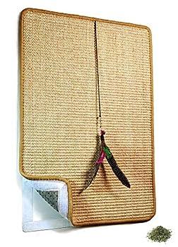 Valkyra - Tapis Griffoir pour Chats Auto-adhésif en sisal - Meubles Horizontal et Verticale - Jouet en Plumes et Herbe à Chat (40 x 60 cm, Nature)