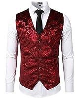 ZEROYAA Mens Hipster Burgundy Paisley Single Breasted Suit Dress Vest/Tuxedo Waistcoat Z49 Burgundy XX Large