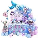 Amycute 87 pcs Sirena Globo Morado Azul de Látex de Colores Globo de Papel de Aluminio Sirena de Cola para Temas del Bajo el Mar Niñas Cumpleaños Baby Shower Bodas Decoración