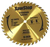 SawStop BTS-R-40ATB 40-Tooth Titanium Series Premium Woodworking Blade, 10' with 5/8' Arbor