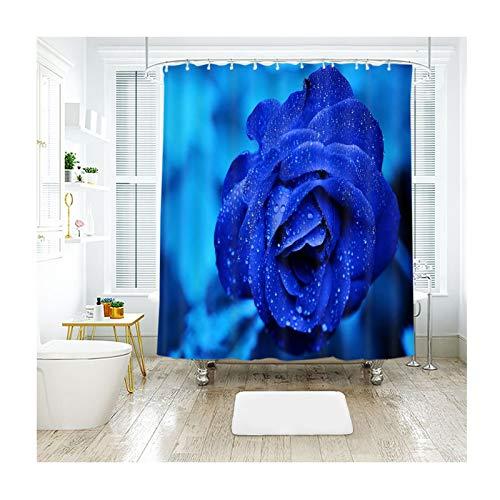 Amody Badvorhang Fenster Blaue Rosenblume Duschvorhang Stoff Antischimmel Bunt 200x180CM Duschvorhang Für Badewanne (Ohne Matte)