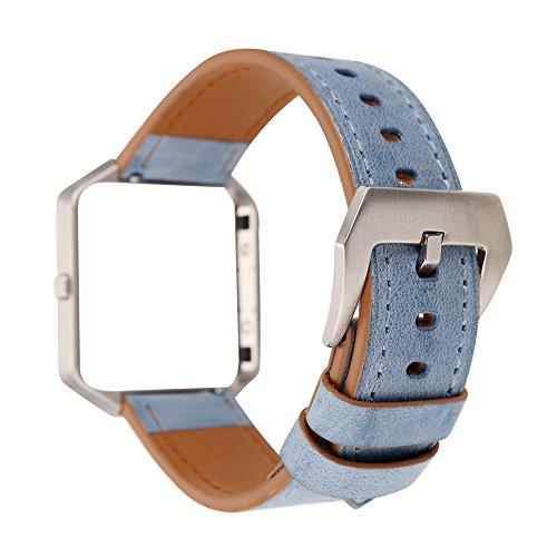 Gimartuk Echtes Lederband für Armbanduhr, Armband mit Blumenmuster, Armband Für Fitbit Blaze mit Stahlrahmen, damen, blau, Small / Large