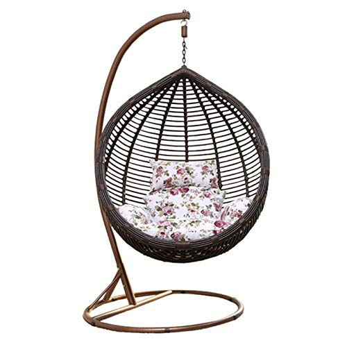 Swing Chair Balcony Single Bird's Nest Lazy Chair Hammock Cradle Chair Indoor Swing Rocking Chair for Garden (Color : Black, Size : 105x202cm)