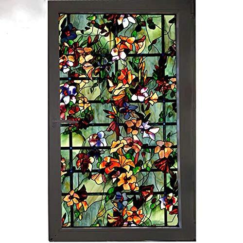 xinyawl Fensterfolie Farbige Blume gebeizt Fenster Folie Privatsphäre dekorative Folie für Möbel Glas Aufkleber statische Cling opak Bad Home Decor 60cmx100cm