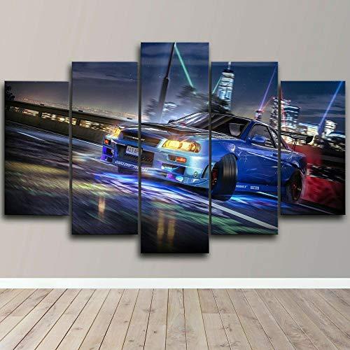 AWER 5 Piezas Cuadro en Lienzo Skyline Drifting Sports Car Modernos Lienzo Decorativo para Pared, Cuadros Decoracion para Pasillo Salon dormitorios XXL 80x150 cm con Marco