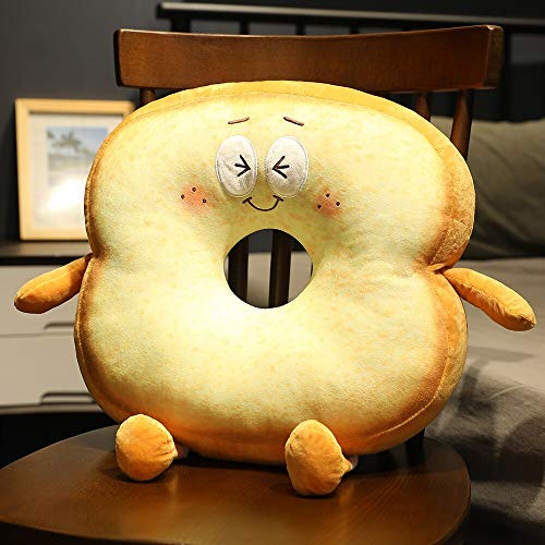 N / A 3D Butter Bread Plush Toast Pillow Simulated Snack Decoration Backrest Cushion Soft Stuffed Toy Simulated Snack Bread Home Decor 40*40cm