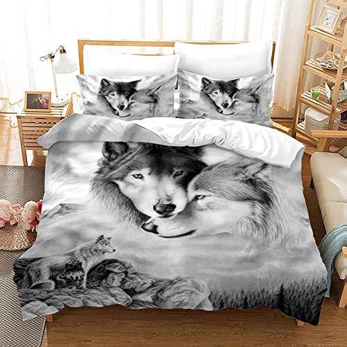 Zyttao Animal Lobo patrón de impresión 3D Funda nórdica Funda de Almohada, tamaño King Doble Individual, Decorar Dormitorio, apartamento, el Mejor Juego de cama-13_173 * 218cm2(pcs)