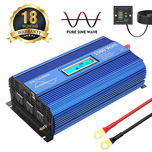 1500W Pure Sine Wave Power Inverter DC 12v to AC 110v-120v with 4.8A Dual USB Ports 3 AC Outlets and Remote Control LCD...