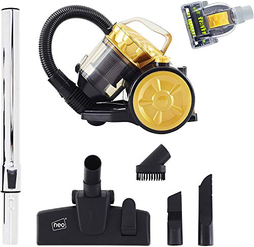 Neo Corded Compact Cyclonic Bagless Cylinder Vacuum Cleaner Hoover (Gold with Pet Hair Attachment)