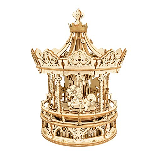 3D Wooden Puzzle Carousel Music Box - DIY Merry-go-Round Ride Mechanical Model, Exquisite Hands-on Activity Toys Gifts for Teens Man/Woman Family