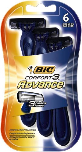 BIC Comfort 3 Advanced Men's Disposable Razor, Triple Blade, Pack of 6 Razors, For a Simply Smoother Shave