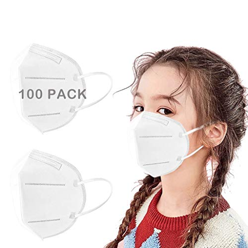 100 Pack Child Disposаble_Face Mẵsk_Fàce Coronàvịrụs Protectịon 5-Ply Non-woven fabric Fàce Màsk Certified for kids, Breathable comfortable fabric White [individual package]