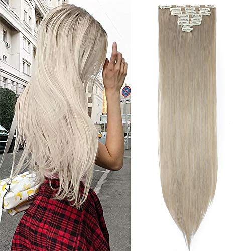 TESS Clip in Extensions wie Echthaar Kunsthaar Haarteile günstig 8 Tressen 18 Clips Haarverlängerung Glatt Mittelblond/Silber Grau 26