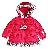 Pistachio Little Baby Girls' Fleece Leopard Faux Fur Trim Lined Hooded Puffer Jacket (18M, Red)
