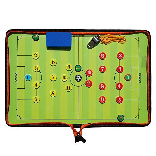 Boclay Fußball Taktiktafel Tragbar Trainer Taktikmappe Coachen Trainer-Mappe Fussball Coach-Board mit Magneten, Schiedsrichter Pfeifen, Schwamm