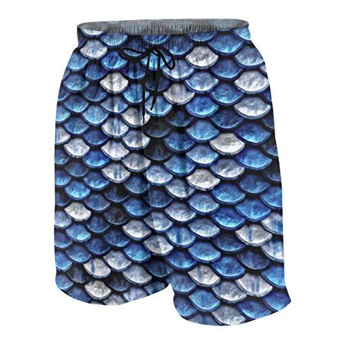 Meiya-Design Herren Badehose Metallic Kobaltblau Fischschuppen Muster Neuheit Strand Board Shorts mit Tasche Gr. L/XL, Mehrfarbig