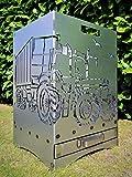 Feuerkorb Feuerstelle Grill Maße 40x40x60 cm Motiv' Trecker 3 mit Ladewagen' inkl. Ascheschublade und Zwischenboden sehr stabil GARTENDEKO FOCKBEK